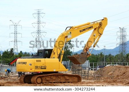 SARABURI -THAILAND - JUNE - 8 :  A loader for construction the road in substation , June 8, 2015 in Saraburi province, Thailand - stock photo
