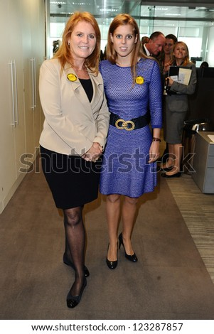 Sarah Ferguson, Duchess of York and daughter, Princess Beatrice on the trading floor of BGC as part of the BGC Charity Day 2012, Canary Wharf, London. 11/09/2012 Picture by: Steve Vas