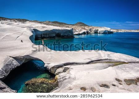 Sarakiniko beach at the island of Milos in Greece  - stock photo
