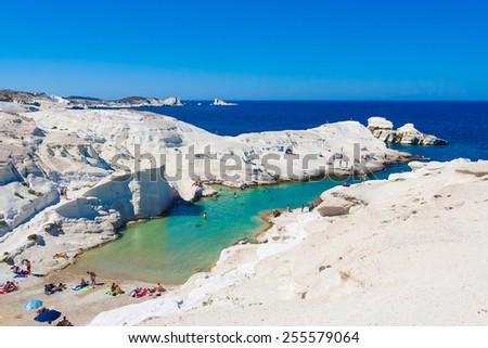 Sarakiniko beach, Milos island, Cyclades, Greece - stock photo