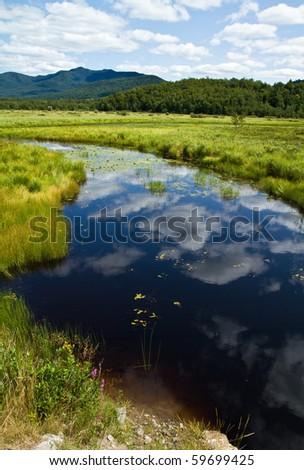 Saranac River leading to the Adirondick mountains - stock photo