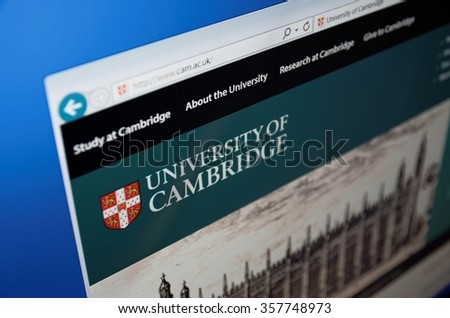 Saransk, Russia - January 03, 2016: A computer screen shows details of University of Cambridge main page on its web site in Saransk, Russia, on January 03, 2016. Selective focus.