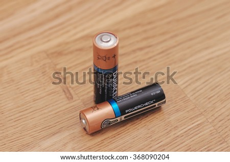 Saransk, Russia - January 26, 2016: Duracell batteries on wooden background in Saransk, Russia, on January 26, 2016. - stock photo
