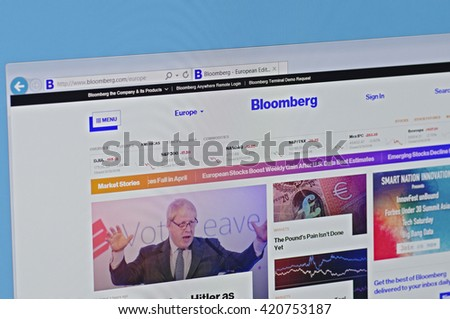SARANSK, RUSSIA - MAY 15, 2016: A computer screen shows details of Bloomberg main page on its web sites.