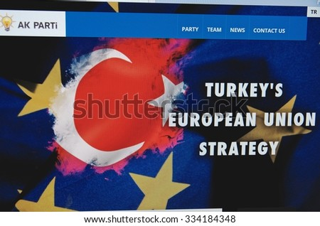 Saransk, Russia - November 01, 2015: A computer screen shows details of Justice and Development Party (Turkey) main page on its web site in Saransk, Russia, on November 01 2015. Selective focus.