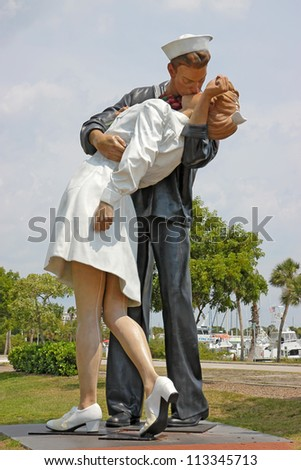 "SARASOTA, Florida - MAY 23: The statue titled ""Unconditional Surrender"" in the center of Sarasota, Florida on May 23, 2011. The statue was hit by a car and removed for repairs on April 27, 2012."