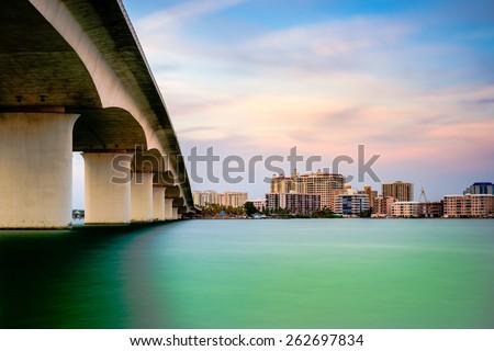 Sarasota, Florida, USA town cityscape from Sarasota Bay. - stock photo