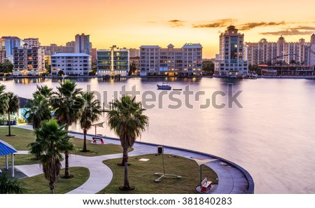 Sarasota skyline at dawn with orange sky
