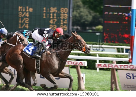 SARATOGA SPRINGS - August 9: Dr. D.F.C. with Aldo Arboleda aboard wins the of the Solomon Northup Stakes August 9, 2008 in Saratoga Springs, NY.