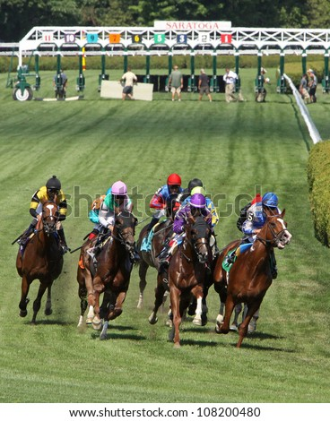 "SARATOGA SPRINGS - JUL 21: The field storms down the turf course in a maiden race on Jul 21, 2012 at Saratoga Race Course in Saratoga Springs, NY. Eventual winner is Joel Rosario (blue cap) and ""Lea"". - stock photo"