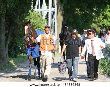 SARATOGA SPRINGS, NY- AUGUST 1:  An unknown groom walks Convocation to the paddock before the 46th Jim Dandy Stakes at Saratoga Race Track,  August 1, 2009 in Saratoga Springs, NY.