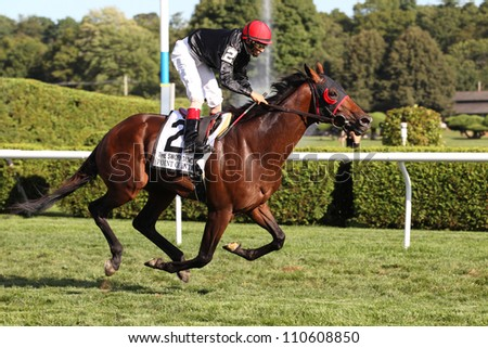 SARATOGA SPRINGS, NY - AUGUST 18: Hall of Fame Jockey John Velasquez aboard Point of Entry winning the Sword Dancer Invitational Stakes on August 18, 2012 in Saratoga Springs, NY - stock photo