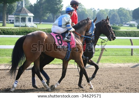 SARATOGA SPRINGS, NY- AUGUST 1:  Jose Lezcano (L) aboard Sonic Sound in the post parade for the Lake Luzerne Stakes at Saratoga Race Track August 1, 2009 in Saratoga Springs, NY. - stock photo