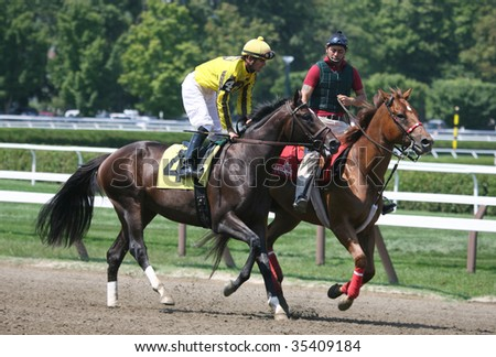 "SARATOGA SPRINGS, NY- AUGUST 15: ""My Piano Man"" with J. Theriot aboard in the post parade for the second race at Saratoga Race Track, August 15, 2009 in Saratoga Springs, NY."