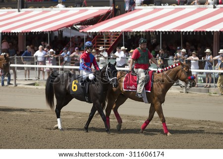 SARATOGA SPRINGS, NY - August 29, 2015: #6 Race Ready with J R. Leparoux. in  post parade for 4th race on Travers Day at Historic Saratoga Race Course on August 29, 2015 Saratoga Springs, New York - stock photo