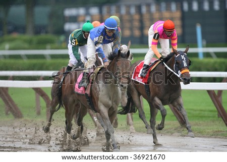 "SARATOGA SPRINGS, NY- AUGUST 29: ""Sara Louise"" (blue silks) with Edgar Prado aboard wins the Victory Ride Stakes at Saratoga Race Track, August 29, 2009 in Saratoga Springs, NY."