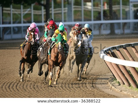"SARATOGA SPRINGS, NY- AUGUST 30: The field comes out of the clubhouse turn in the ""Personal Ensign Grade I"" at Saratoga Race Track, August 30, 2009 in Saratoga Springs, NY. - stock photo"