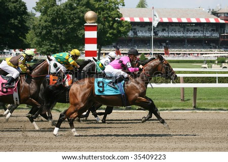 SARATOGA SPRINGS, NY- AUGUST 15: The Field is off and running in the second race at Saratoga Race Track, August 15, 2009 in Saratoga Springs, NY. - stock photo
