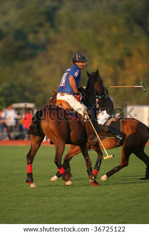 SARATOGA SPRINGS - SEPTEMBER 4 :  Shamrock and Bloomfield players in action during the 5th chukker at Saratoga Polo Club September 4, 2009 in Saratoga Springs, NY.