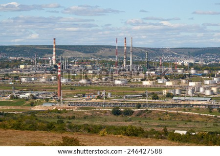 Saratov oil refinery factory with many pipes.