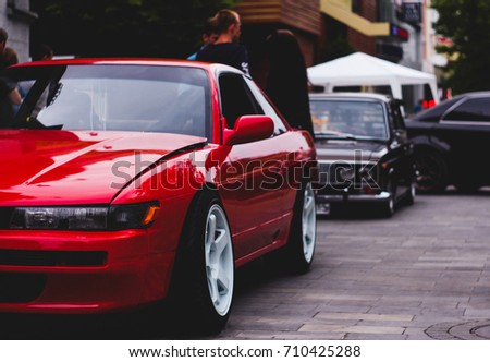 SARATOV, RUSSIA   MAY 30, 2017: Red Sports Car Nissan Silvia S13