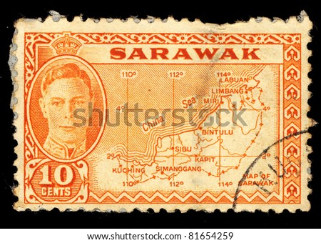 SARAWAK - CIRCA 1950: A stamp printed in the Sarawak shows portrait of King George VI,  Map of Sarawak, Circa 1950