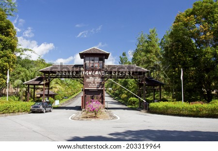 SARAWAK, MALAYSIA - MAY 31: View of entrance gate to Borneo Highland Resort in Sarawak, Malaysia on May 31, 2014. The resort stands at the height of 1,000 meters above sea level.