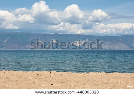 Sarayskiy Bay of lake Baikal, Russia. The view from Olkhon island on a Small sea