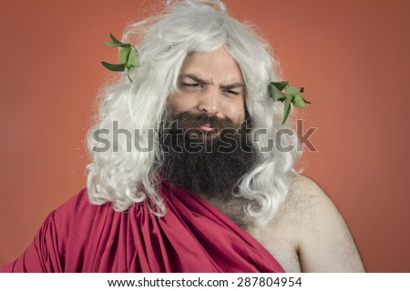 Sarcastic Zeus god or jupiter scoffs at a concept - stock photo