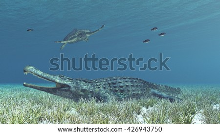 Sarcosuchus and Archelon Computer generated 3D illustration
