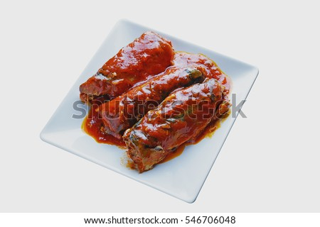 Sardines fish in tomato sauce, canned fish, on white background