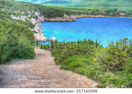 Sardinia coastline in Cala Dragunara. Processed for hdr tone mapping effect - stock photo