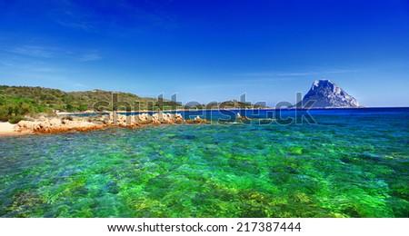 Sardinia island, cala Dorata (porto Taverna) Italy - stock photo