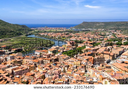 Sardinia, landscape of Bosa city - stock photo
