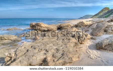 Sardinia seascape in hdr toning - stock photo