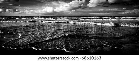 sardinian sea winter dramatic waves ecology - stock photo