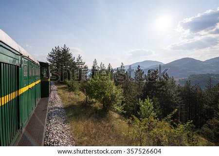 Sargan Eight narrow gauge railway from the village of Mokra Gora to Sargan Vitasi station in Serbia - stock photo