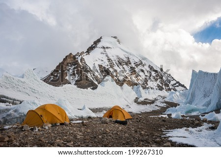 Saribung base camp, Mustang, Nepal - stock photo