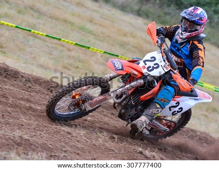 SARIEGO, SPAIN - AUGUST 17: Legendary Sariego motocross test in August 17, 2015 in Sariego, Spain. Ivan Moratinos rider with the number 23