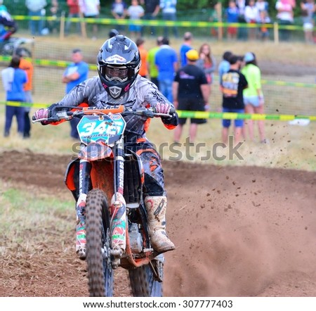 SARIEGO, SPAIN - AUGUST 17: Legendary Sariego motocross test in August 17, 2015 in Sariego, Spain. Sara Coloret rider with the number 346