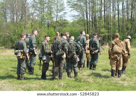 SAROV, NIJEGORDSKAY OBL, RUSSIA - MAY 9: Participants of the Reconstruction of the military battles of WW2 on May 9 2010 in Sarov, Nijegorodskay obl, Russia.