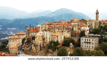 Sartene - impressive medieval hilltop village in Corsica - stock photo