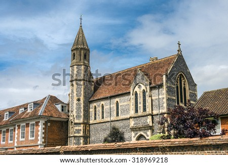 Sarum College in Salisbury, South England, located within the beautiful Cathedral Close in the centre of the medieval city of Salisbury - stock photo
