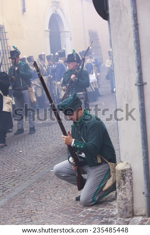 SARZANA, ITALY - SEPTEMBER 28: commemorative and historical fest of the Napoleonic Wars which is celebrated every two years in the medieval town of Sarzana, Liguria Italy on September 28, 2013