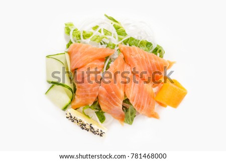 Sashimi from salmon on a white background top view.