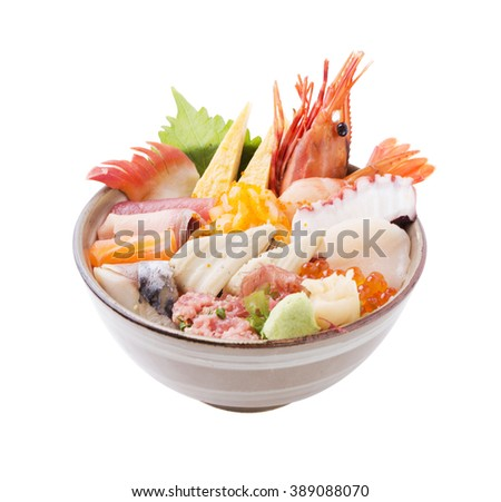sashimi raw fish seafood rice bowl - sashimi on rice, donburi, japanese food on white background (clipping path) - stock photo
