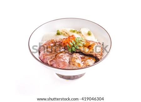 Sashimi raw fish seafood rice bowl - Wagyu beef, Engawa and Foie gras, sashimi on rice, donburi, japanese food - stock photo