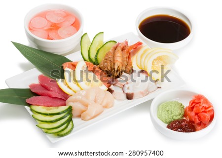 Sashimi seafood assortment with hot sauce. From a series of Food Korean cuisine. - stock photo