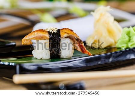 Sashimi with eel - stock photo