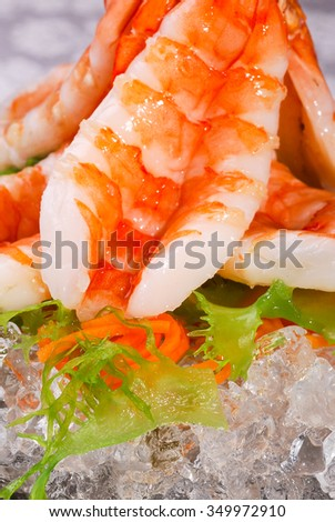 Sashimi with shrimp, macro shot with shallow depth of field